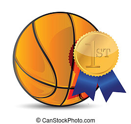 Basketball ball with award illustration design over white