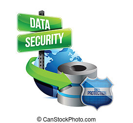 data security global communications concept illustration...