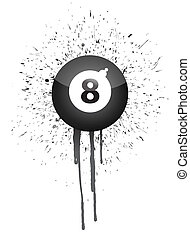 ink splatter eight ball illustration design over white