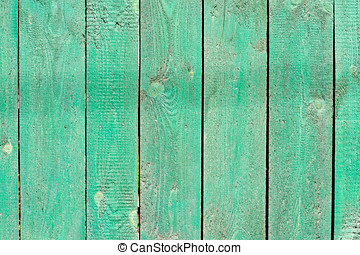 Wooden fence - Abstract wooden green painted fence
