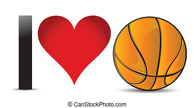 I love Basketball, Heart with Basketball Ball Inside...