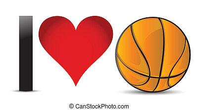 I love Basketball, Heart with Basketball Ball Inside...