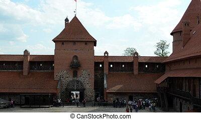 tourist trakai castle - Tourist people in ancient Trakai...