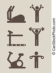 gym icons - gym icon over beige background vector...