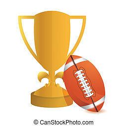 Gold Trophy Cup Football on a white