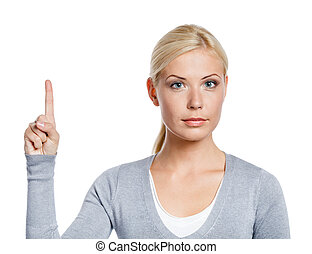 Girl making attention gesture with forefinger, isolated on...