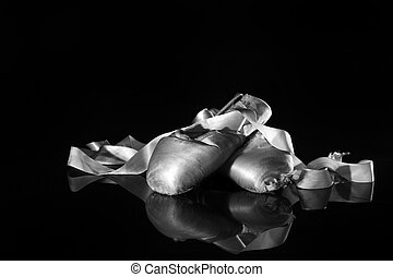 Lightpainted Pair of Ballet Pointe Shoes - Closeup Pair of...