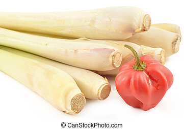 Lemongrass and scotch bonnet pepper on a white background