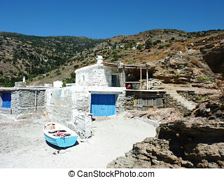 Fisherman's boat house, Andros island, Greece