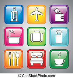 hotel icons over gray background vector illustration