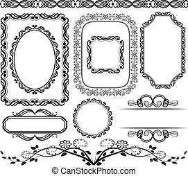 frames and borders - set of frames, borders and ornaments