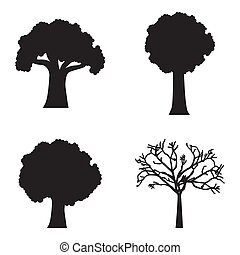 arbor day - siluettes trees over white background. vector...