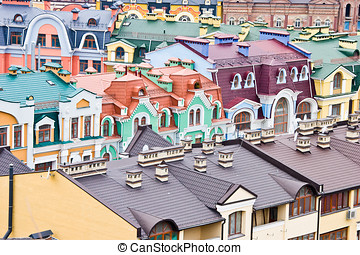Urban scene - Abstract multicolored urban roofs