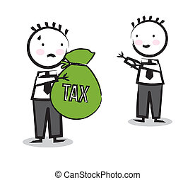 tax vector - businessman with tax icon over white background...