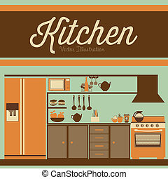 kitchen - Illustration kitchen with appliances, food and...