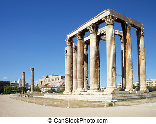 Olympian Zeus temple and Acropolis of Athens