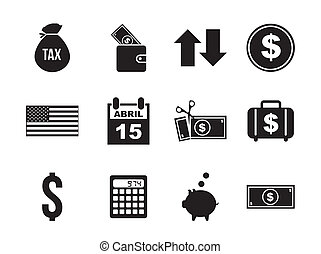 tax icons over white background vector illustration