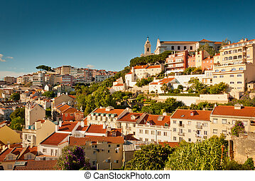 Lisbon Alfama - View over Alfama and castle hill, Lisbon,...