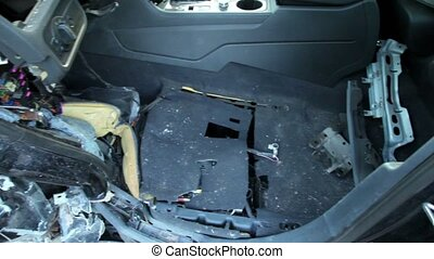 Cabin of abandoned car after accident, closeup view in...