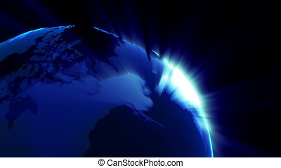 planet Earth rotating with sunbeams loopable background