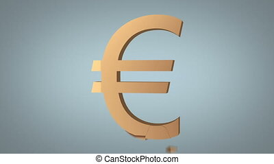 euro sign destruction concept over grey