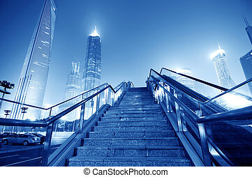 Shanghai streets, stairs and skyscraper buildings - Shanghai...