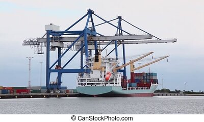 Cranes load vessel by containers in port with windmills
