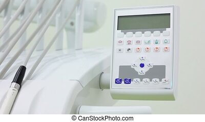 Control unit for dental equipment and tools, closeup view in...