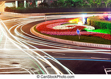 Highway light trails - Beautiful light trajectory in the...