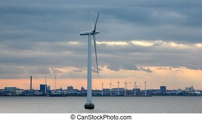 wind generators of electricity on water and ashore