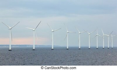 number of wind generators located on water in cloudy weather
