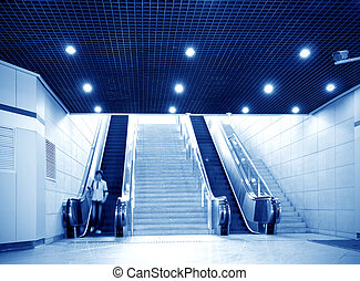 Shanghai subway station of the hall and escalators