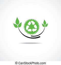 Recycle icon with green leaf design