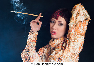 Smoking girl - Elegant woman smoking cigarette