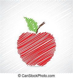 Red sketch apple design