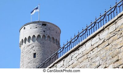 round tower with Estonian flag and part of wall with iron fence