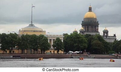 River quay with admiralty and Isakievsky cathedral in Saint...