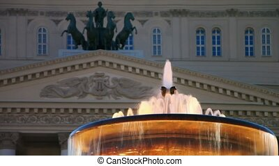 Night illumination on fountain near Bolshoi theater edifice...
