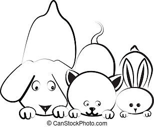 Dog, cat and rabbit logo - Dog, cat and rabbit silhouettes...