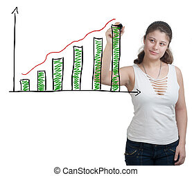 Diagram chart - brunette businesswoman is drawing a diagram...