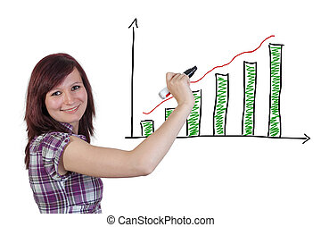 Diagram chart - red haired businesswoman is drawing a...