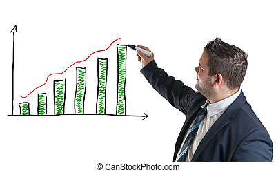 Diagram chart - businessman is drawing a diagram chart