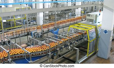 bottles with kvass move on conveyor in shop at plant -...