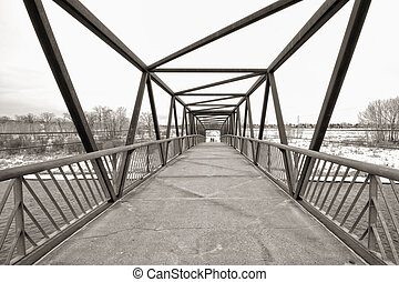 Sepia Trestle Bridge - Sepia trestle pedestrian bridge in...