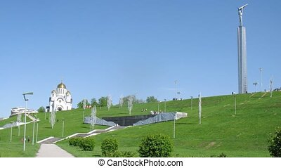St George church stands on hill against blue sky in Samara,...