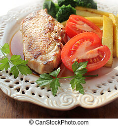 Grilled meat steak with vegetables