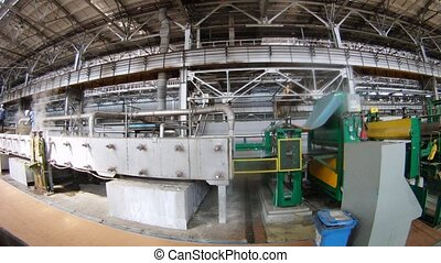 Equipment blow off steam in the course of production on rolling mill, time lapse