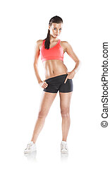 Fitness woman - Young woman with beautiful slim body in...