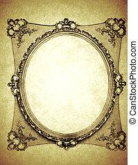 Vintage Oval Frame on Old Paper