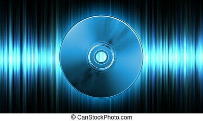 Audio CD - Rotating blue CD over audio waveform (seamless...